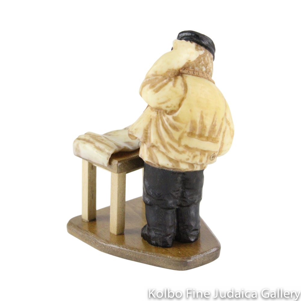 Collectable, Hand-Tailor in Shtetl Scene, Hand-Carved from Tagua Nut and Wood