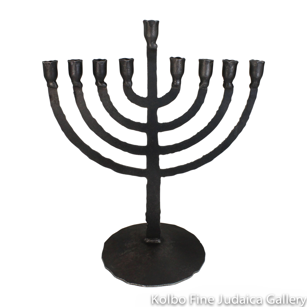 Menorah, Wrought Iron, Small Flame Design