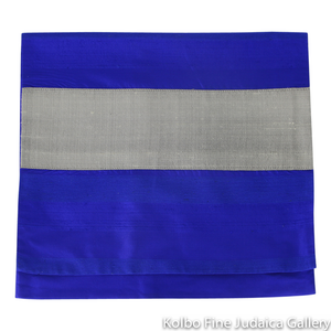 Tallit Set, Brilliant Blue Stripes with Silver Accents on White Background, Fine Wool