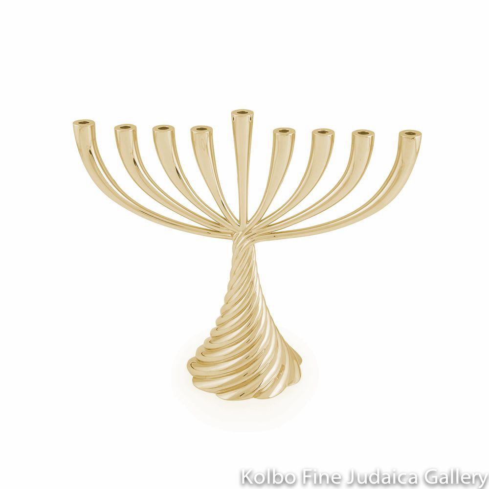 Menorah, Golden Twist Design, Goldtone