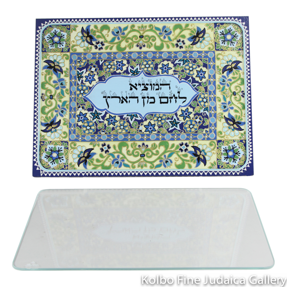 Challah Board, Hand-Painted Wood with Glass Top, Light and Dark Blue Flowers, One-Of-A-Kind