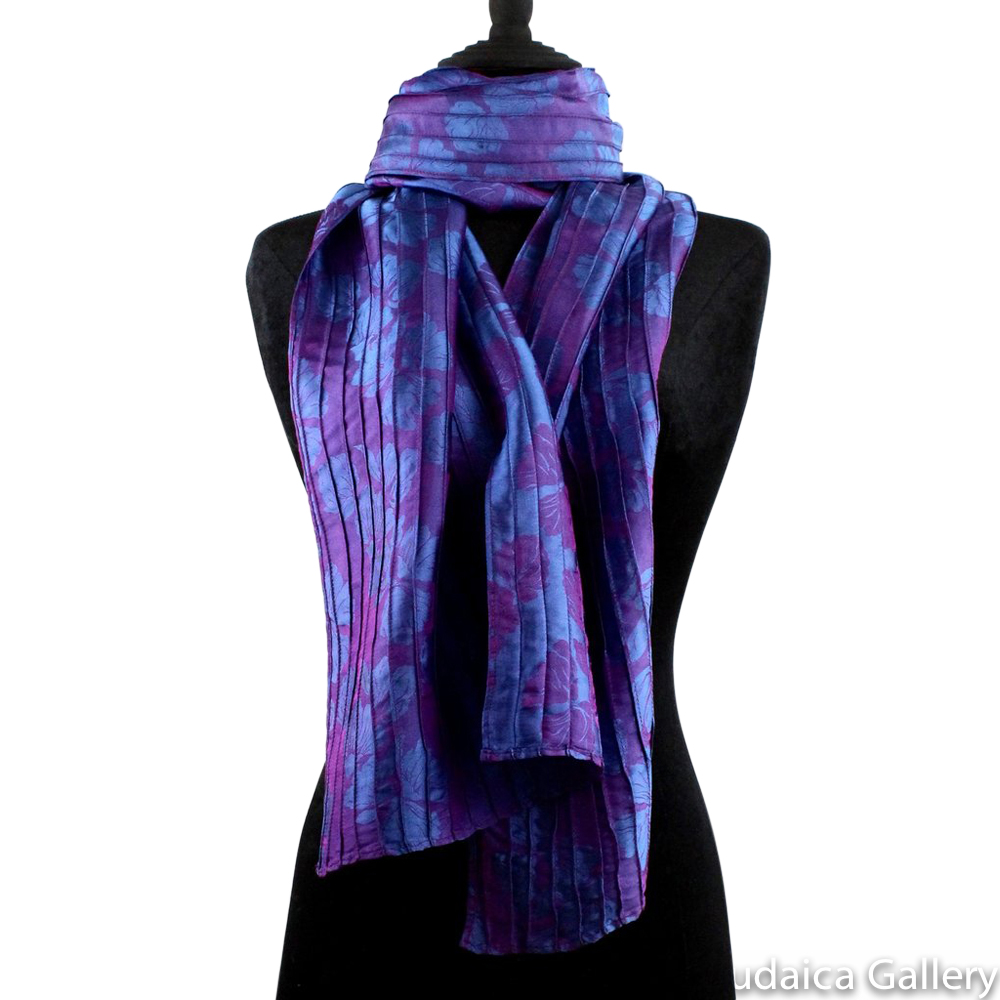 Scarf, Purple and Blue Pintuck Design, Silk, Hand-Made