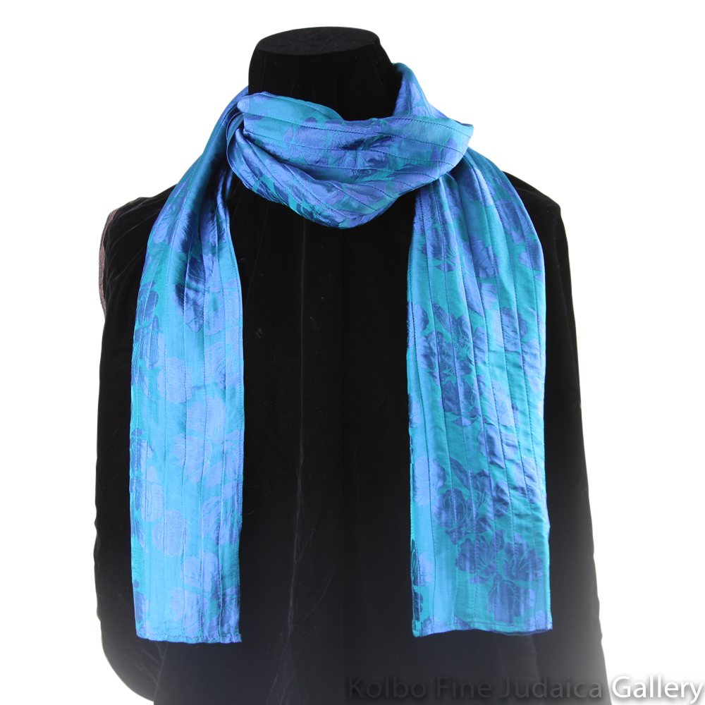 Scarf, Blue and Teal Pin-Tucking, Silk, Hand-Made