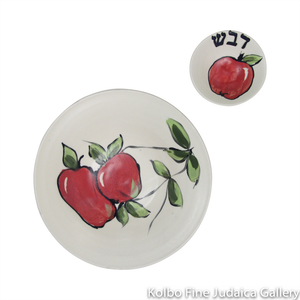 Honey and Apple Set, Ceramic, Painted Apple and Branch Design, Wide Bowl with Saucer
