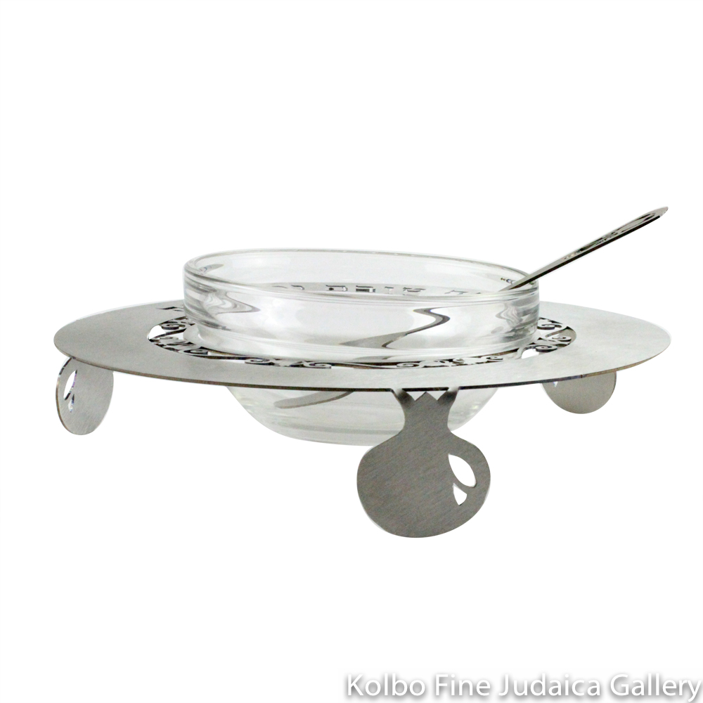 Honey Dish, Sweet New Year Design, Silver Anodized Aluminum with Glass Bowl and Spoon