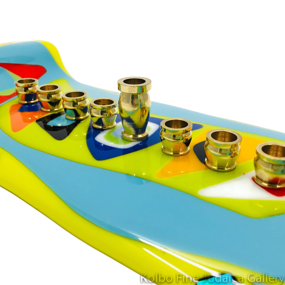 Menorah, Artful Multicolor Tray Design, Fused and Dichroic Glass