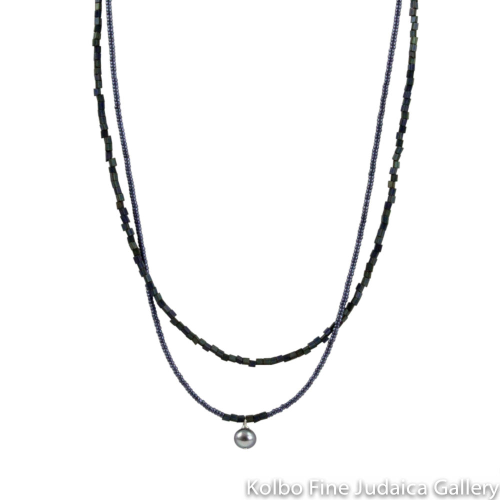 Necklace, Double Strand, Steel Blue Glass and Toho Beads, Pearl Center Drop