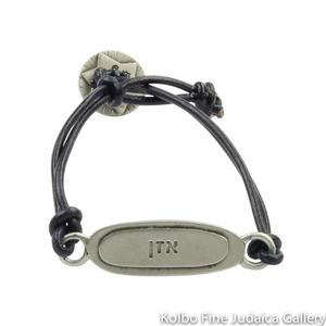 Bracelet, Balance Design in Hebrew and English, Pewter with Leather Cord