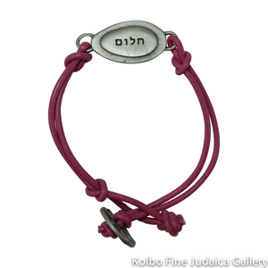 Bracelet, Dream Design in Hebrew and English, Pewter with Leather Cord