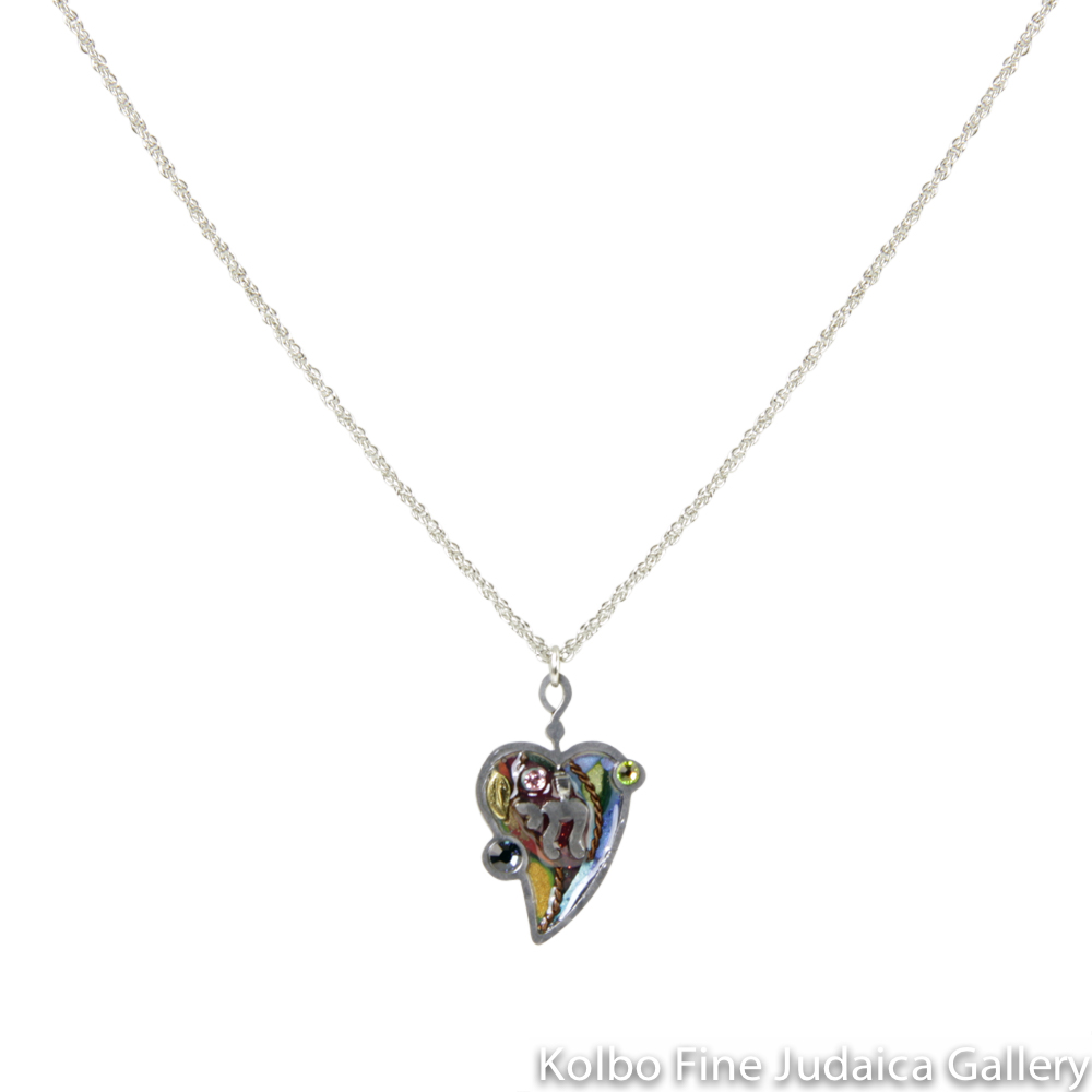 Necklace, Heart with Chai, Multicolored, Resin on Stainless Steel with Crystals and Beads