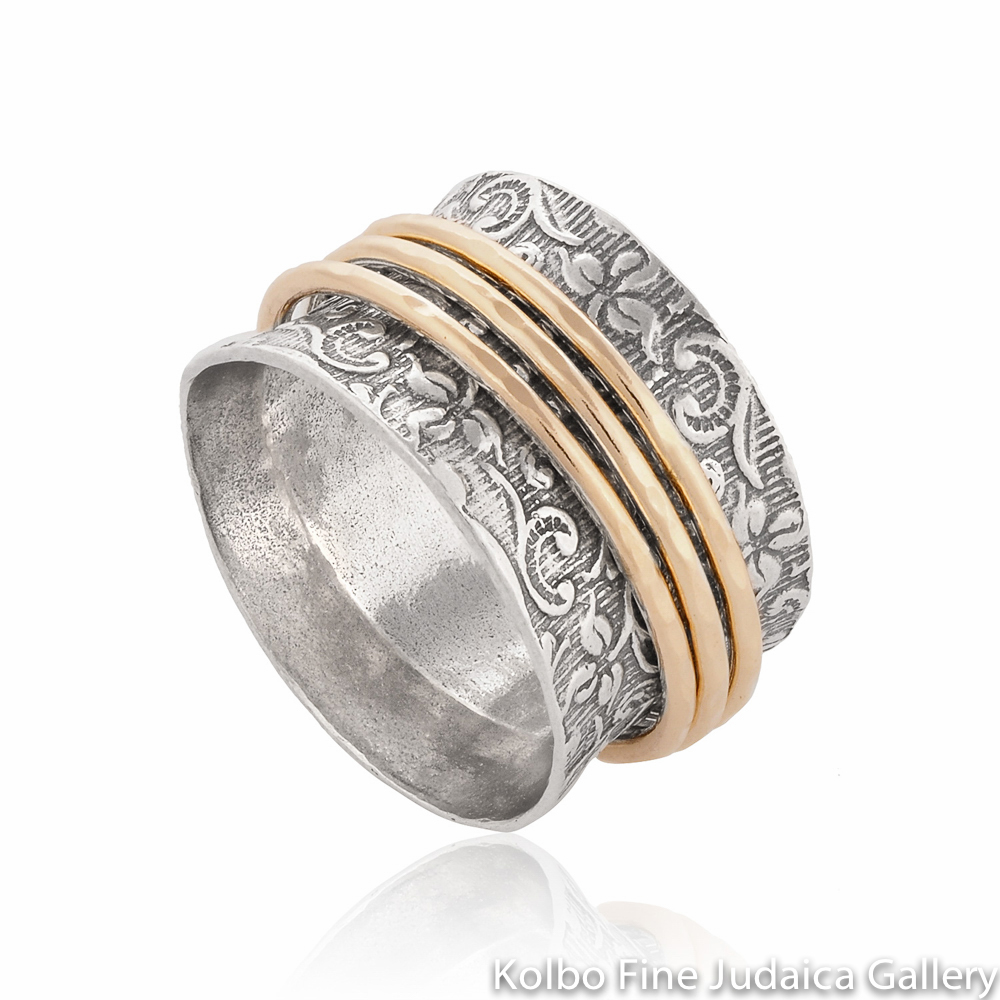 Ring, Wide Sterling Silver Band with Filigree, Three Thin Gold-Filled Spinner Bands