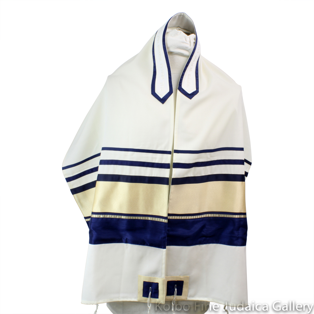 Tallit Set, Large Gold and Navy Blue Stripes on White Wool