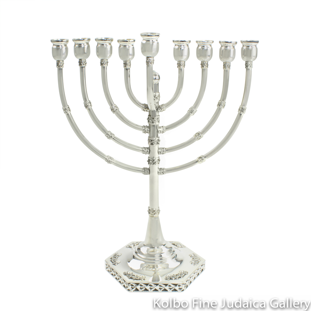 Menorah, Sterling Silver, Large Size with Filigree, Hexagonal Base