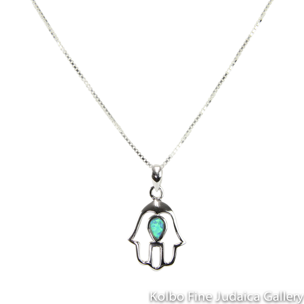 Necklace, Hamsa, Sterling Silver With Blue Opal Droplet