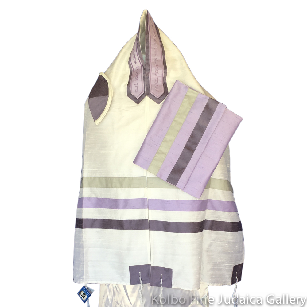 Tallit Set, Purple Ombre Stripes, Raw Silk