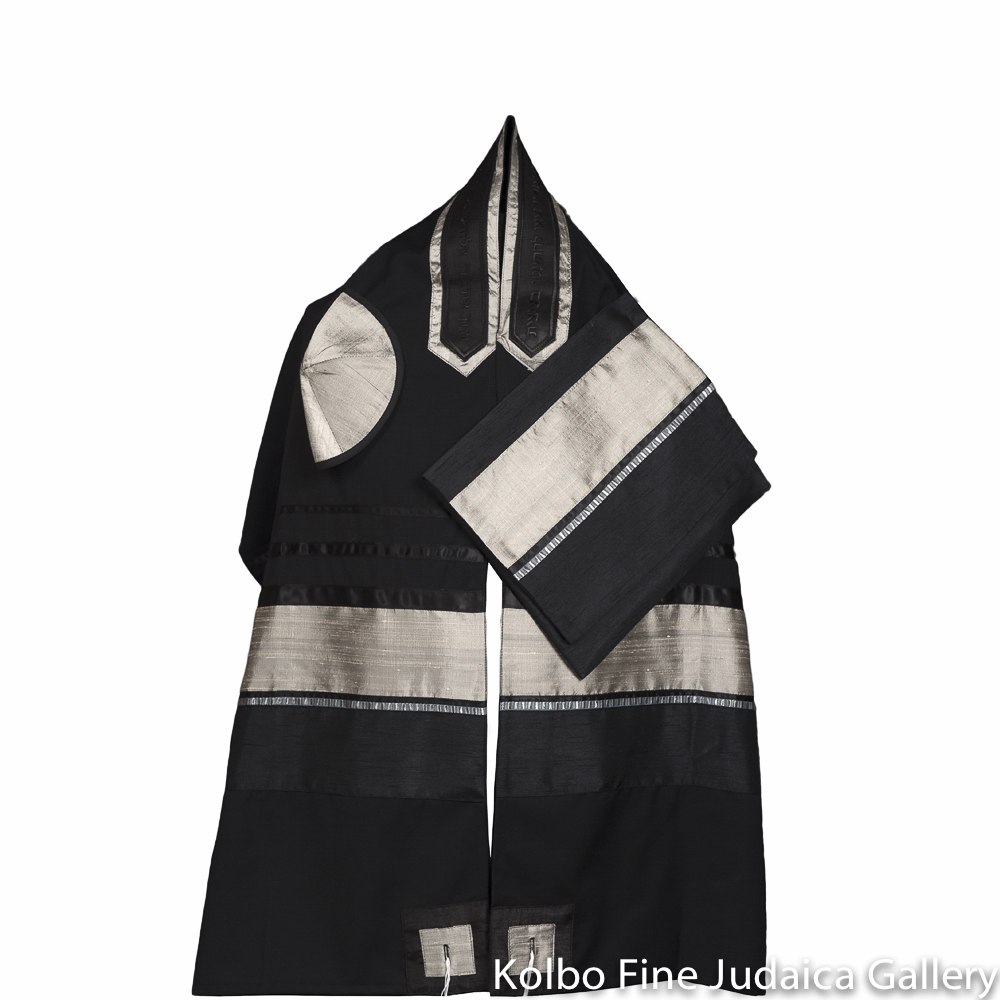 Tallit Set, Black Wool Background with Silver Raw Silk Accents