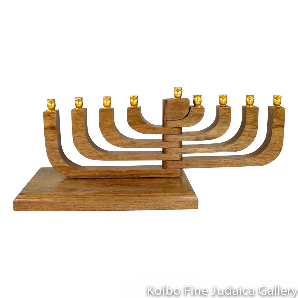 Menorah, Brazilian Cherry Wood, Kinetic Design with Movable Arms