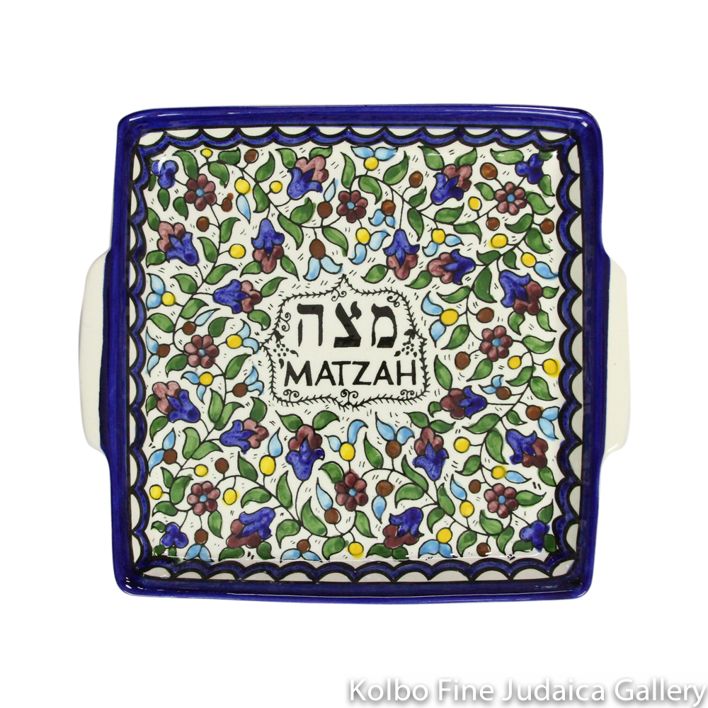 Matzah Plate, Armenian Pottery, Hand-Painted in Israel