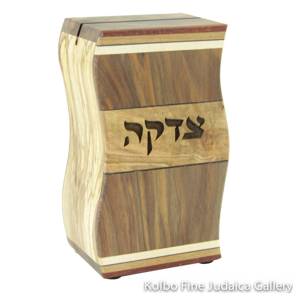 Tzedakah Box, Wavy Design, Mixed Woods