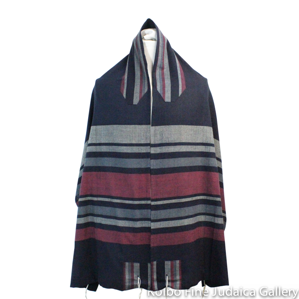 Tallit Set, Sunset Tones of Black, Burgundy, and Gray, Hand-Spun Cotton and Silk, with Bag, Ethically and Sustainably Made