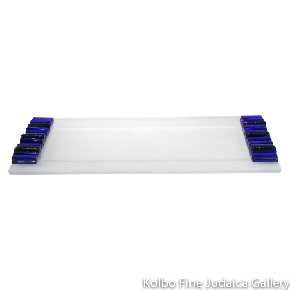 Tray for Candlesticks, Iridescent Icicle Design, Cobalt Blue and Frosted Glass