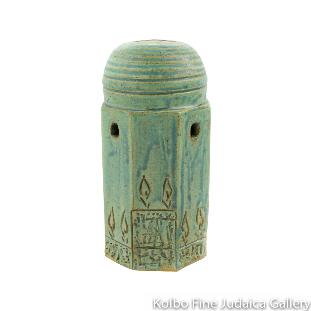 Tzedakah Box, Large Dome Design, Ceramic with Patina Glaze