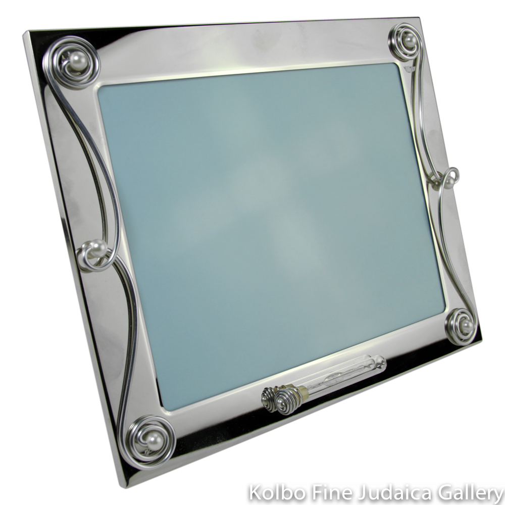Picture Frame for 8'' x 10'' Photo, Silver Plated, Scroll Design with Tube on Front for Wedding Shards