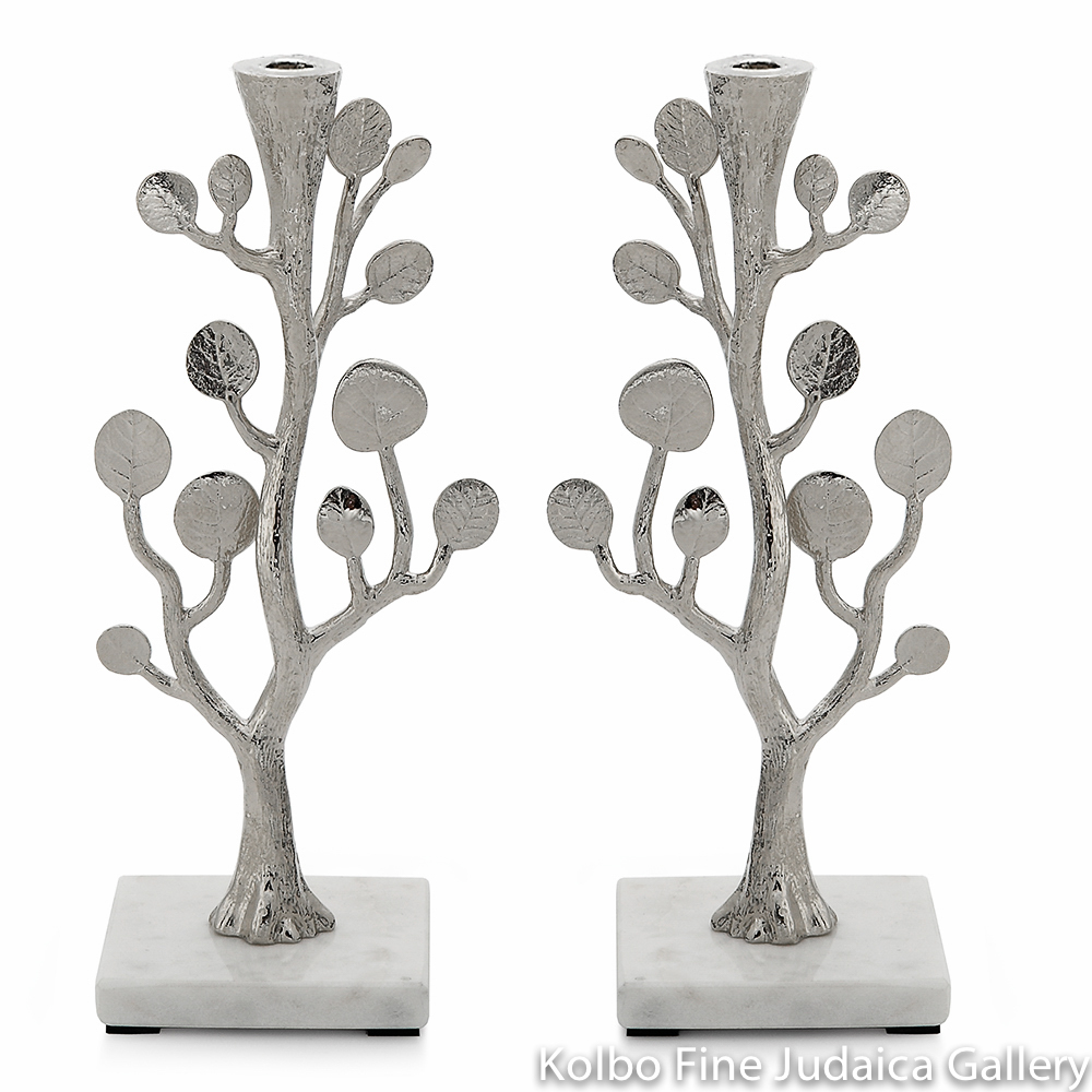 Candlesticks, Botanical Leaf Design, Nickel Plate and Marble