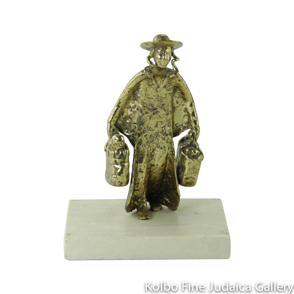 Shopping for the Sabbath, Bronze Sculpture on Marble Base, 7'', Limited Edition of 18 Pieces