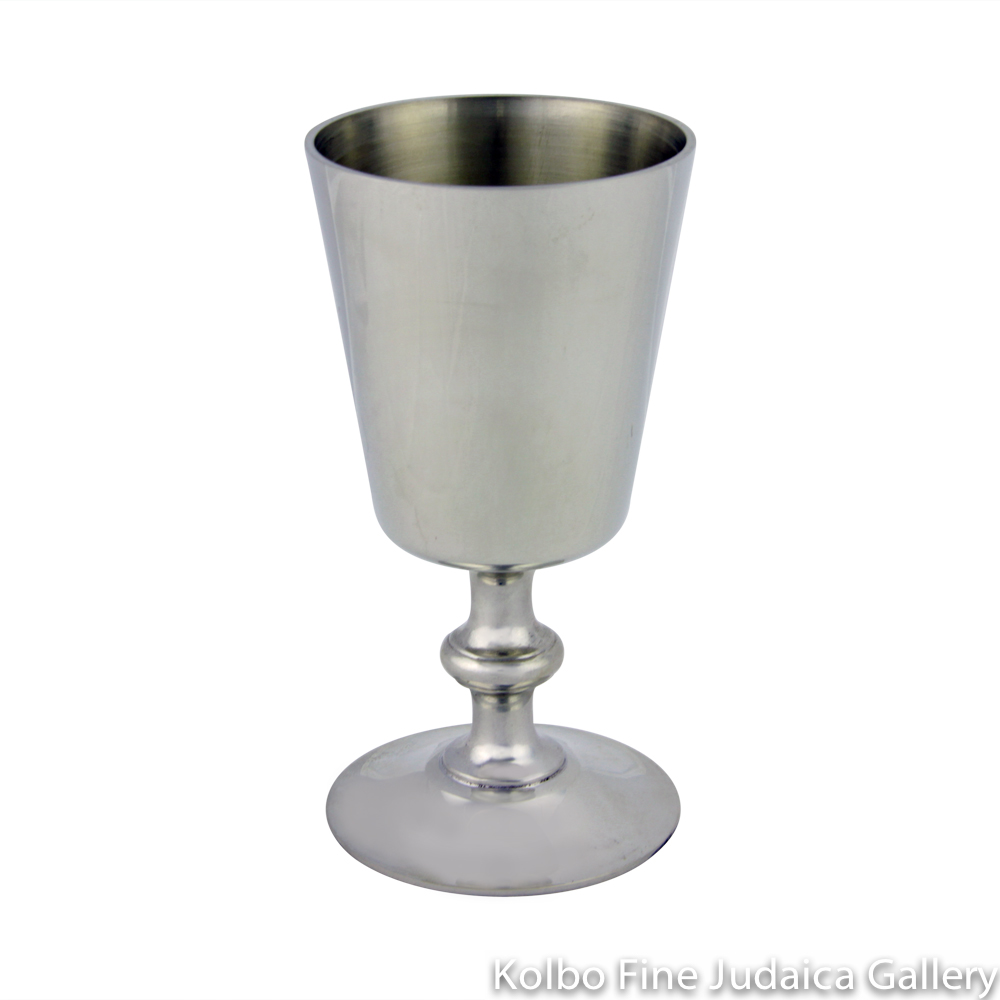 Kiddush Cup, Traditional Style with Straight Top, Pewter
