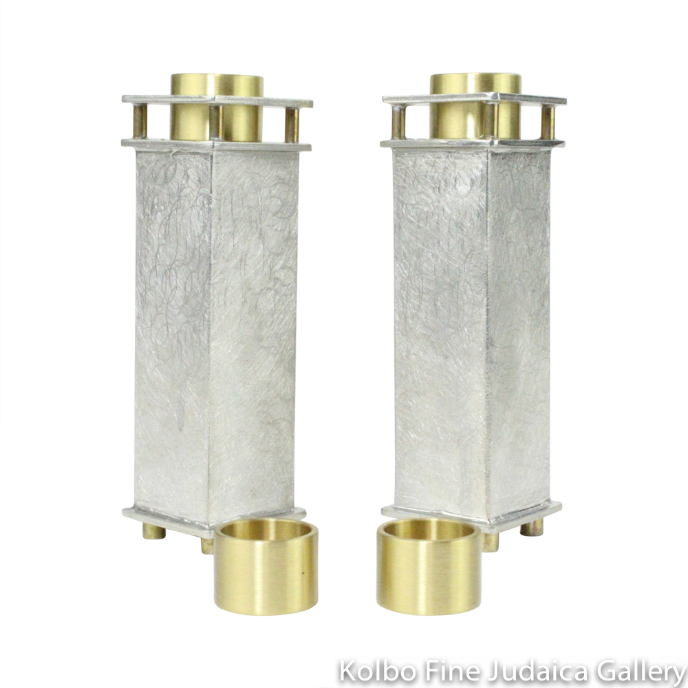Candlesticks, Squared with Sanded Finish, Pewter with Brass Adapters