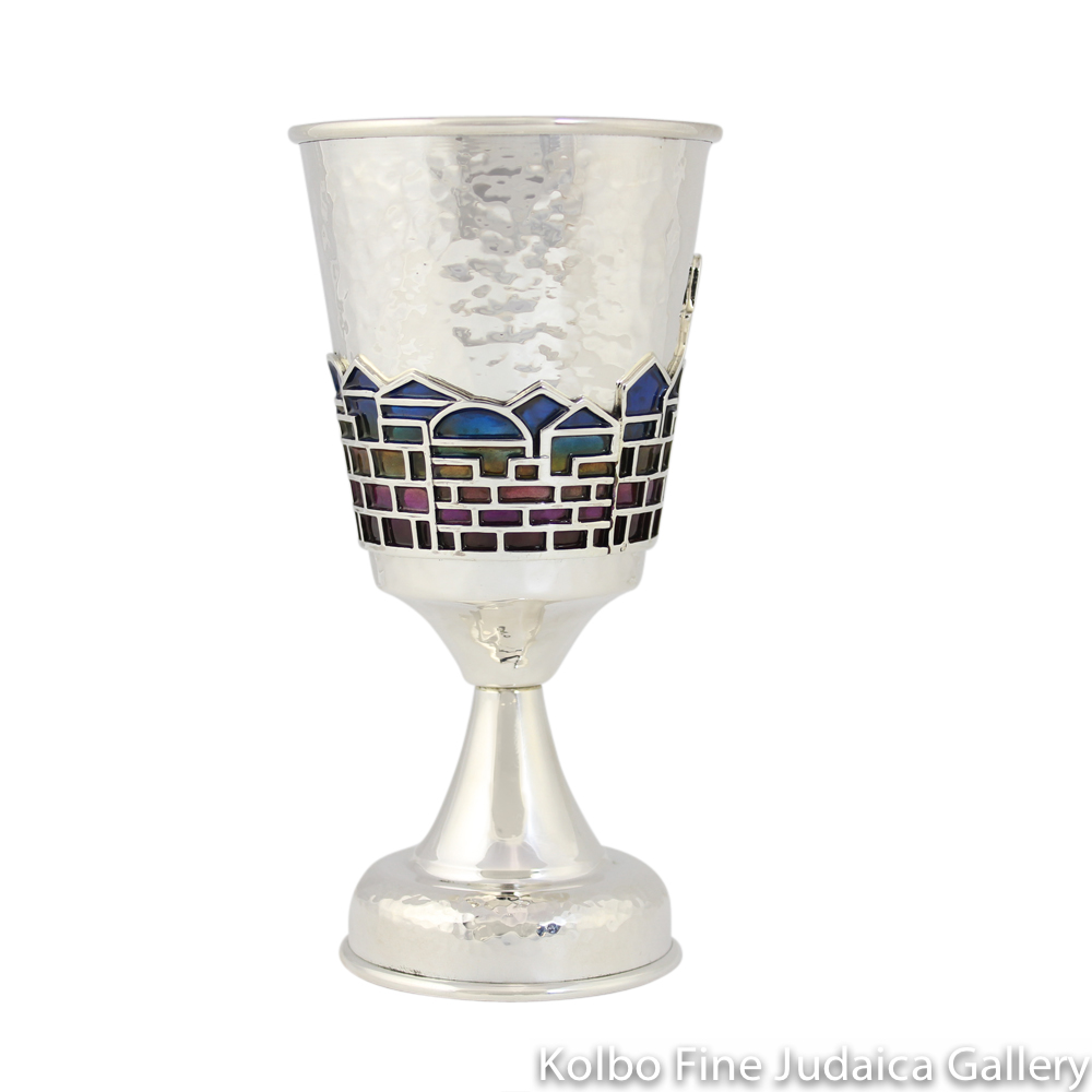Kiddush Cup, Hammered Sterling Silver, Jerusalem Design in Enamel