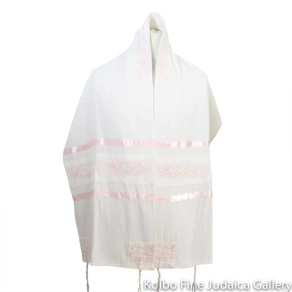 Tallit Set, Embroidered Vine Design in Pink on White Brushed Cotton