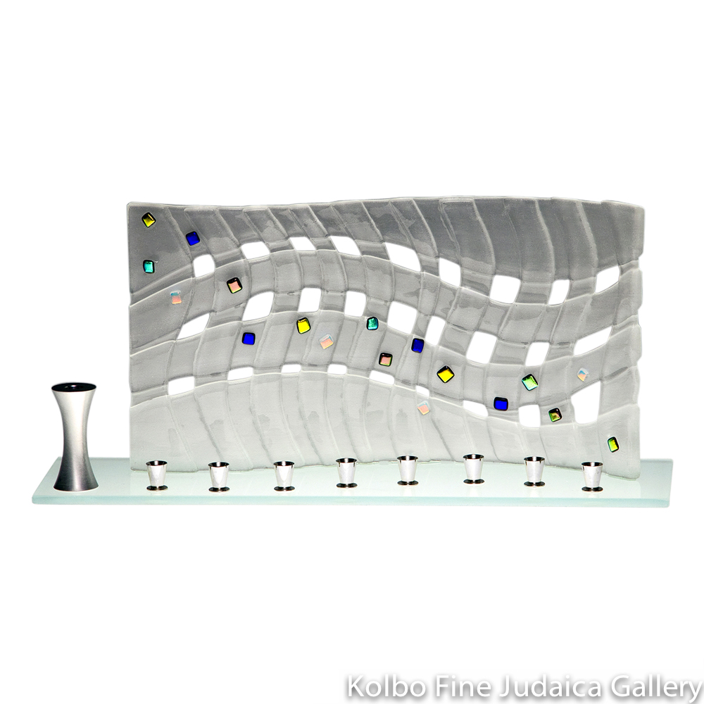Menorah, Woven Glass Design, Colorful Dichroic Details
