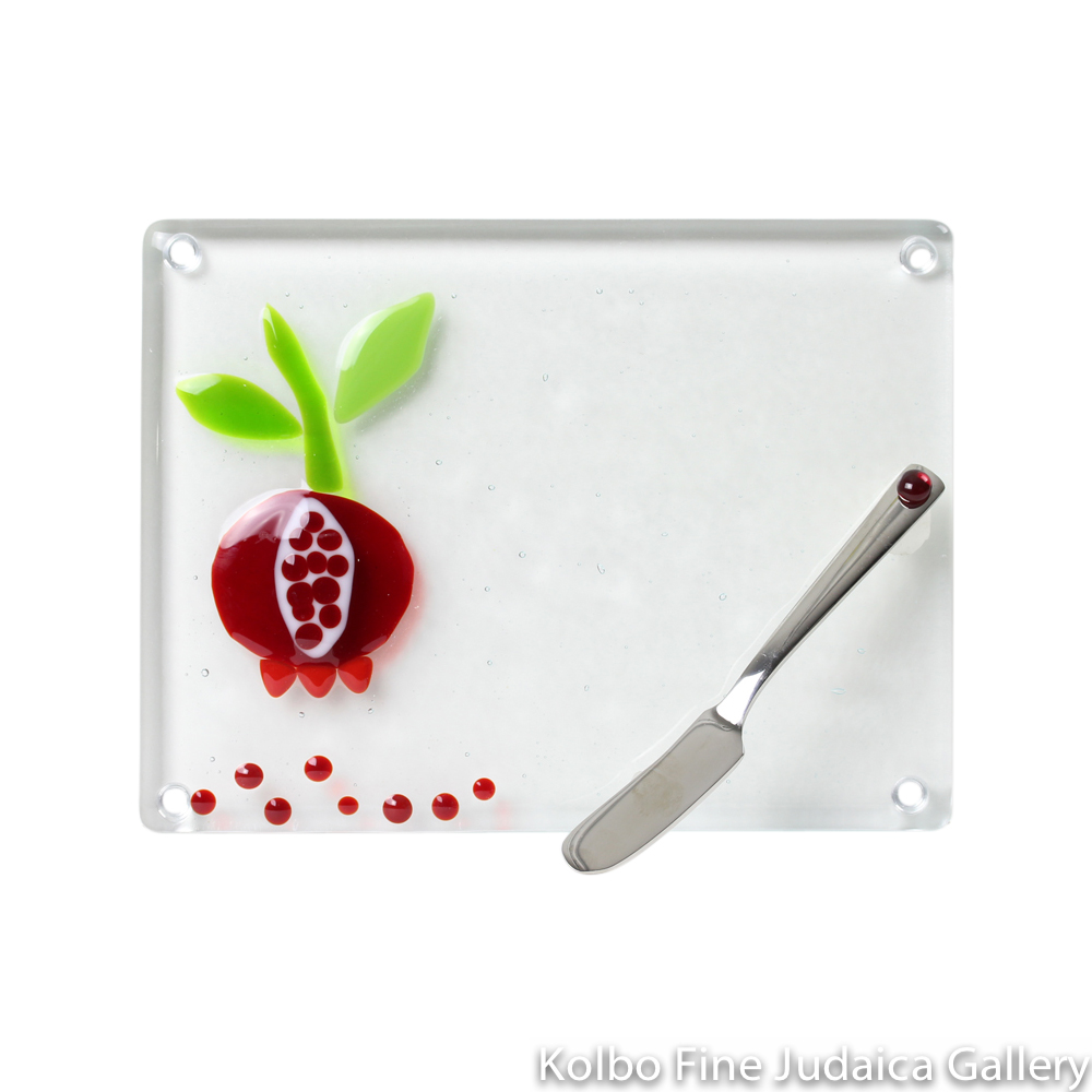 Serving Dish, Pomegranate and Seeds Design, Fused Glass with Knife