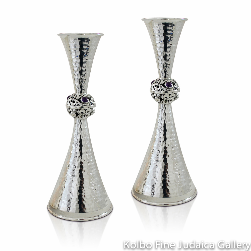 Candlesticks, Sterling Silver with Amethysts, Hammered Hourglass Design with Carved Ball Center