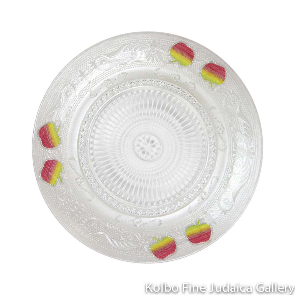Honey and Apple Set, Glass with Colorful Apple Design, Round Plate and Apple-Shaped Bowl