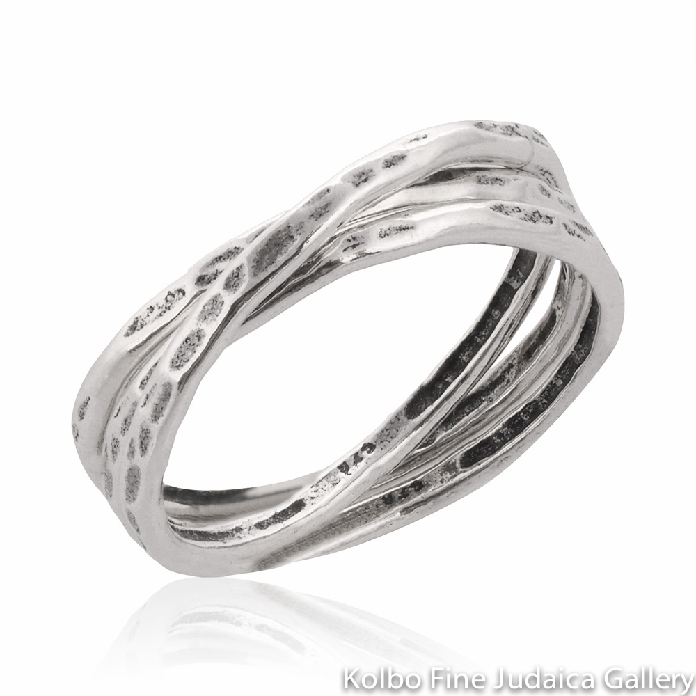 Ring Set, Interlocking Bands, Hammered Sterling Silver