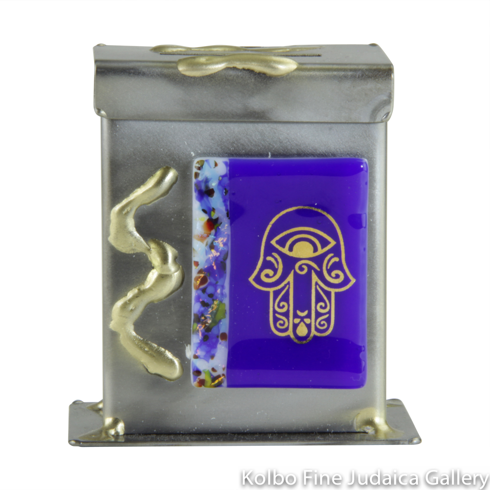 Tzedakah Box, Hamsa on Glass Design, Mixed Metals and Fused Glass, Blue or Green, Small
