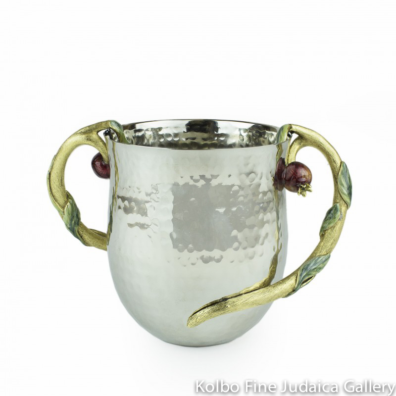 Wash Cup, Pomegranate Design, Hammered Stainless Steel with Gold-Toned Pewter Handles