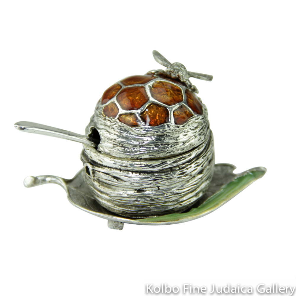 Honey Dish, Honeybee Design on Leaf Tray in Pewter with Enamel