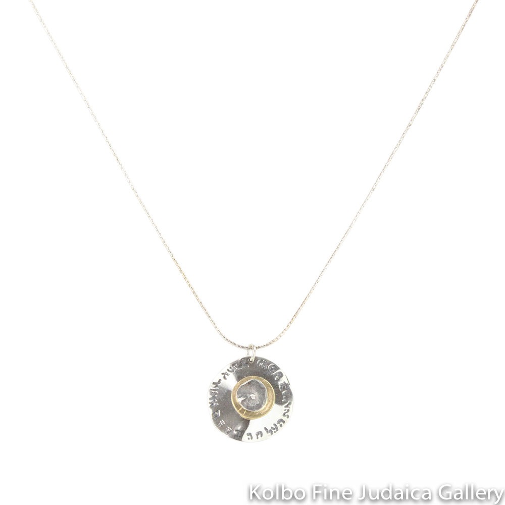 Necklace, Words of Blessing, Circular Discs of Sterling Silver, Yellow Gold, and Rose Gold