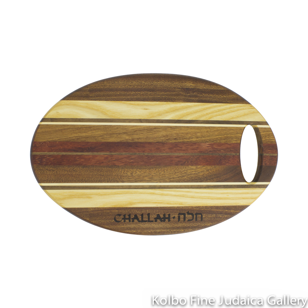 Challah Board, Wooden Oval with Stripes, Cutout Handle
