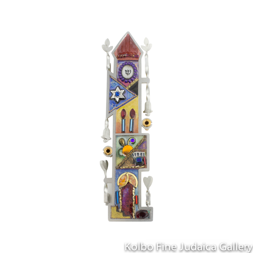 Mezuzah, Home Design, Resin on Stainless Steel with Crystals