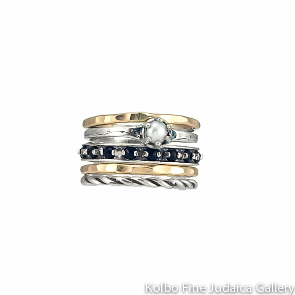 Ring Set, Thin Sterling Silver and Gold-Filled Bands, with Onyx and Pearl Stones