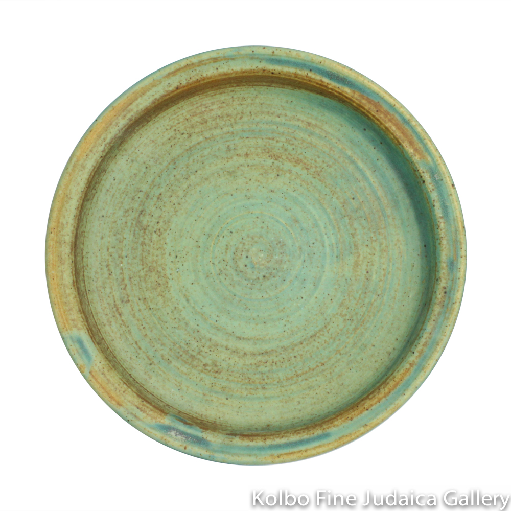 Saucer for Kiddush Cup, Ceramic with Patina Glaze
