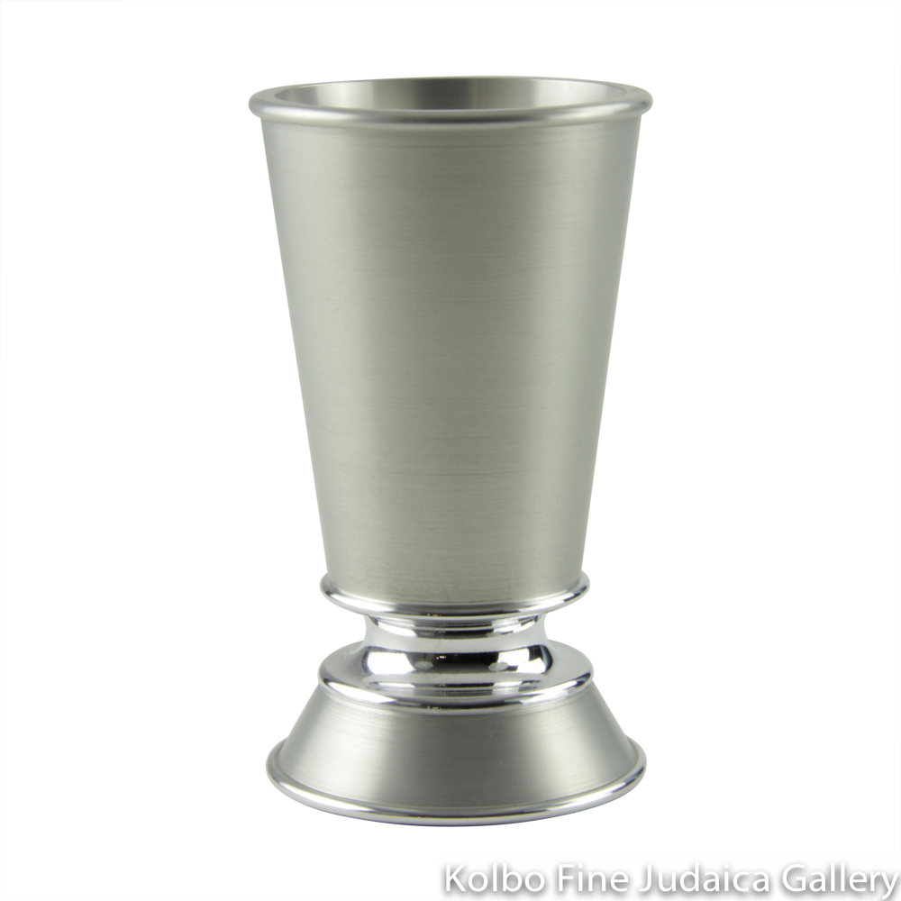 Kiddush Cup, Short Stem with Wide Base, Natural-Colored Anodized Aluminum