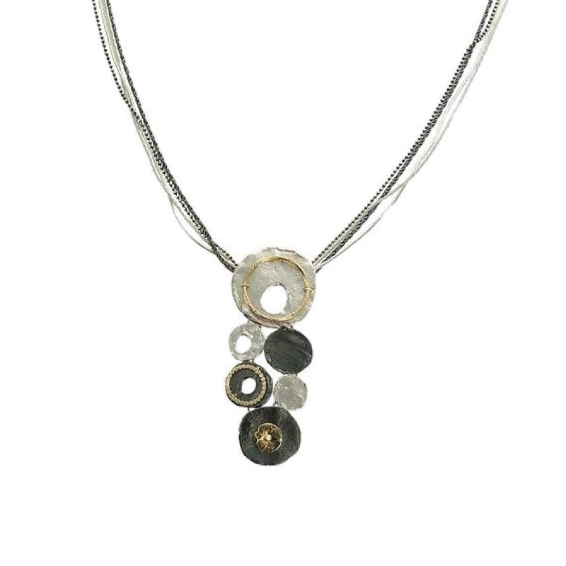 Necklace, Pendant with Six Circles on Four Threads of Sterling Silver and Gold-Filled Chain
