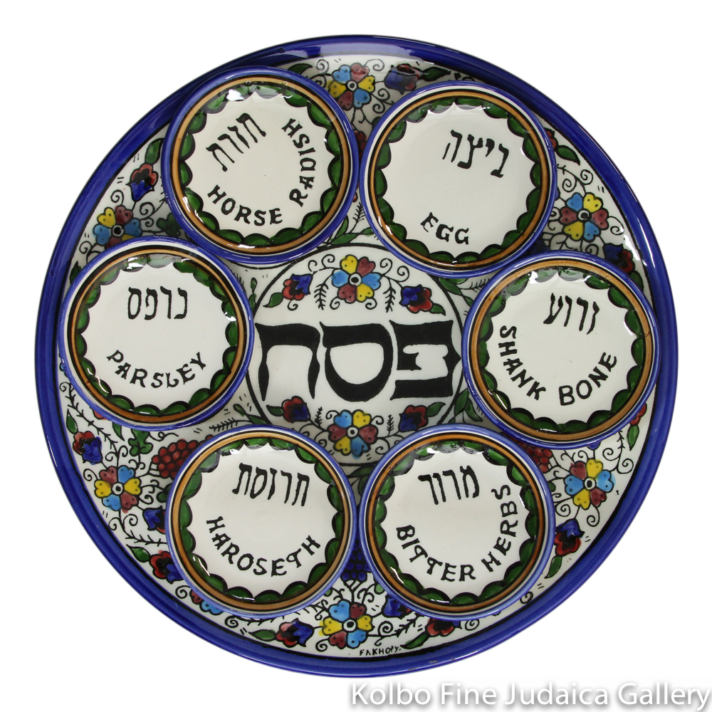 Seder Plate with Bowls, Armenian Pottery, Hand-Painted in Israel