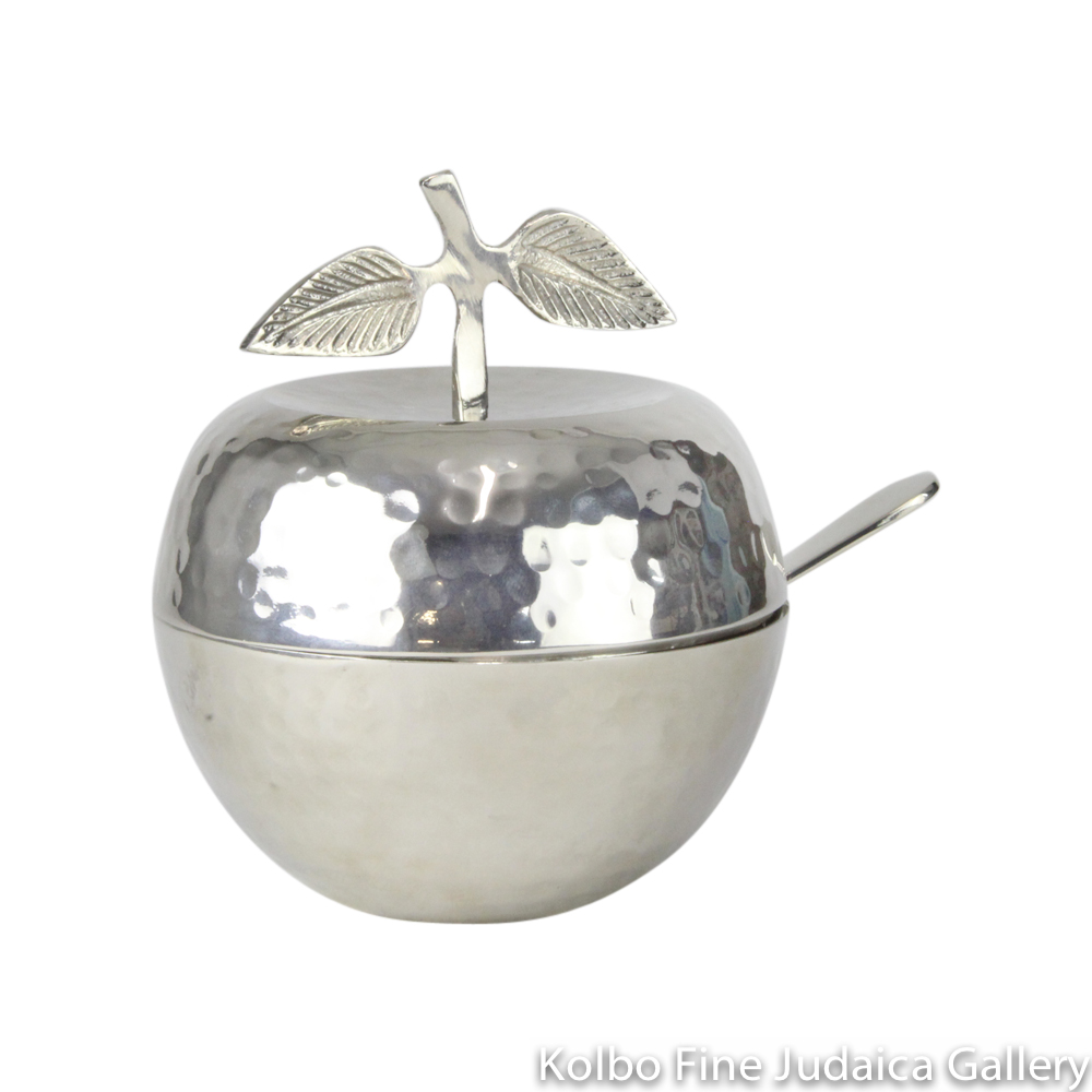 Honey Jar, Apple Design with Spoon, Hammered Nickel with Glass Insert